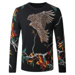 Eagle Floral Print Pullover Sweater