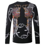 cheap Dragon Chains Print Pullover Sweater