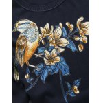 Bird Floral Print Pullover Sweater deal