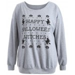 Pullover Letter Witch Print Sweatshirt photo