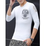 cheap Slim Fit Totem Printed Round Neck T-Shirt