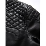 Embroidered PU-Leather Fleece Zip-Up Jacket for sale