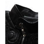 Embroidered PU-Leather Fleece Zip-Up Jacket deal