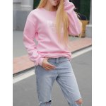 cheap Jewel Neck Letter Pattern Sweatshirt