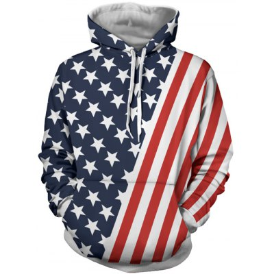 Stripes and Stars Pattern Hoodie