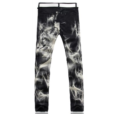 Casual Zip Fly Wolf Printing Straight Legs Denim Pants For Men