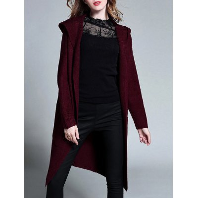 Knitted Plus Size Hooded Cardigan