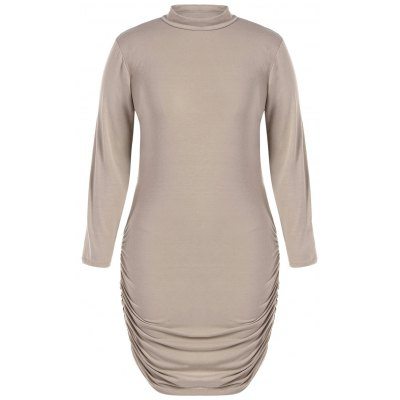 Long Sleeve Knit Ruched Dress