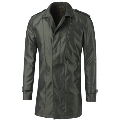 Turn-Down Collar Epaulet Design Button Coat