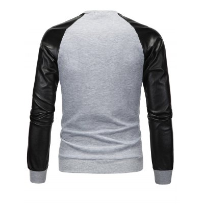 PU Spliced Color Block Long Sleeve SweatshirtMens Hoodies &amp; Sweatshirts<br>PU Spliced Color Block Long Sleeve Sweatshirt<br><br>Material: Cotton Blends<br>Clothing Length: Regular<br>Sleeve Length: Full<br>Style: Fashion<br>Weight: 0.377kg<br>Package Contents: 1 x Sweatshirt