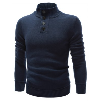 High Neck Button Embellished Pullover SweaterMens Sweaters &amp; Cardigans<br>High Neck Button Embellished Pullover Sweater<br><br>Type: Pullovers<br>Material: Polyester,Spandex<br>Sleeve Length: Full<br>Collar: High Collar<br>Technics: Computer Knitted<br>Style: Fashion<br>Weight: 0.565kg<br>Package Contents: 1 x Sweater