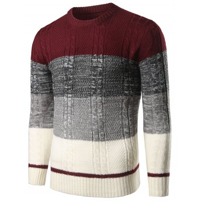 Color Block Twist Striped SweaterMens Sweaters &amp; Cardigans<br>Color Block Twist Striped Sweater<br><br>Type: Pullovers<br>Material: Cotton,Polyester<br>Sleeve Length: Full<br>Collar: Crew Neck<br>Style: Fashion<br>Weight: 0.500kg<br>Package Contents: 1 x Sweater