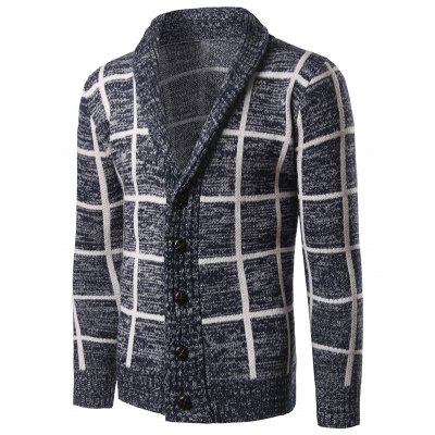 Turn Down Collar Grid Pattern Single-Breasted CardiganMens Sweaters &amp; Cardigans<br>Turn Down Collar Grid Pattern Single-Breasted Cardigan<br><br>Type: Cardigans<br>Material: Cotton,Polyester<br>Sleeve Length: Full<br>Collar: Turn-down Collar<br>Style: Fashion<br>Weight: 1.201kg<br>Package Contents: 1 x Cardigan