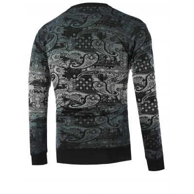 Paisley Pattern Ombre Crew Neck Knitwear