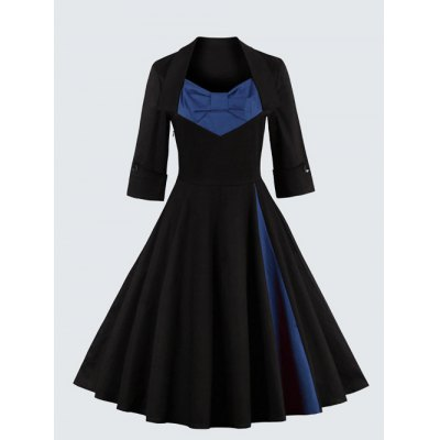 Plus Size Vintage Bowknot Embellished Dress