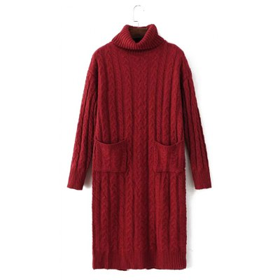 Cable Knit Turtleneck Sweater Dress