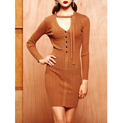 Buttoned Tied-Up Knitted Bodycon Dress