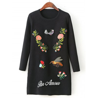 Flower Embroidery Sweater Dress