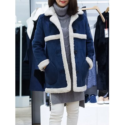 Sueded Splicing Turn-Down Collar Coat
