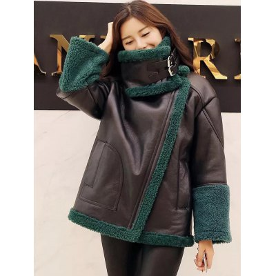 PU Leather Faux Fur Decorated Coat