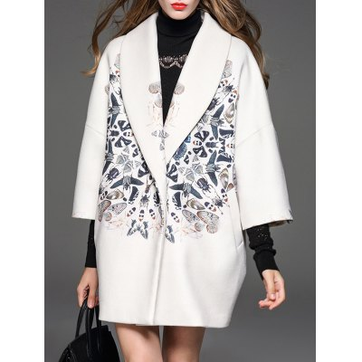Butterfly Pattern Shawl Collar Cocoon Coat
