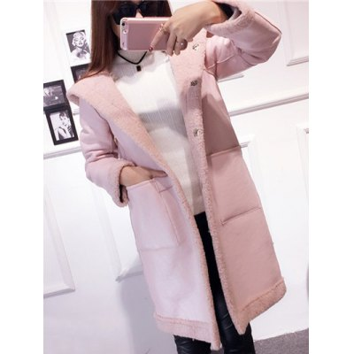 Hooded Convertible Sueded Long Coat