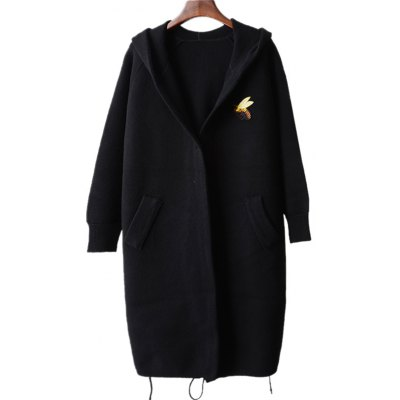 Hooded Bee Embroidery Coat