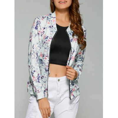 Abstract Floral Print Zippered Jacket