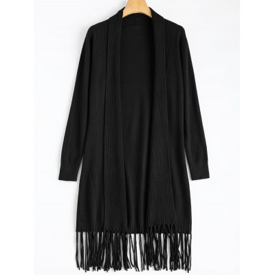 Knit Duster Cardigan with Tassel