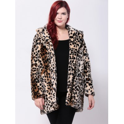 Plus Size Leopard Print Twin Pockets Faux Fur Coat