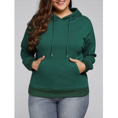 Plus Size Front Pocket Loose Hoodie