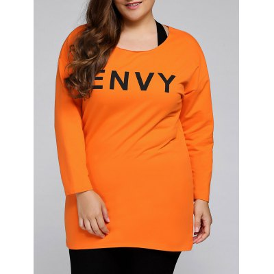 Plus Size Envy Letter Sweatshirt With Racerback Tank