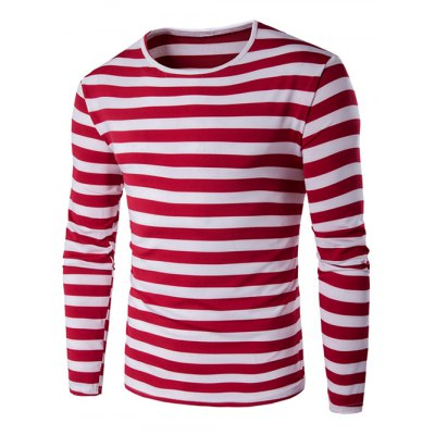 Striped Red Long Sleeve T Shirt