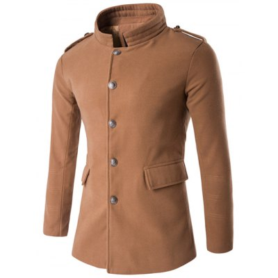 Plus Size Stand Collar Epaulet Single-Breasted Woolen Coat