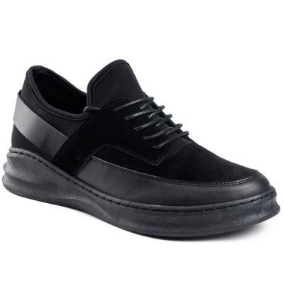 PU Leather Tie Up Casual Shoes