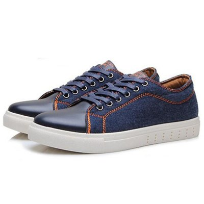 Denim Splicing Lace-Up Casual Shoes