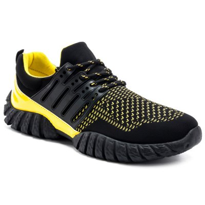 Suede Tie Up Colour Spliced Athletic Shoes