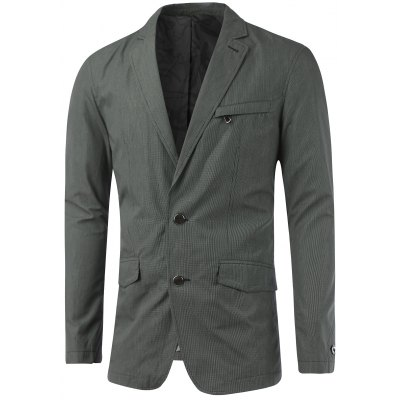 Zip Pocket Buttonhole Notch Lapel Texture Blazer
