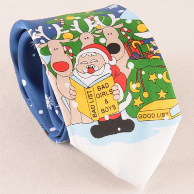 Funny Santa Claus Reading Book Christmas Tie