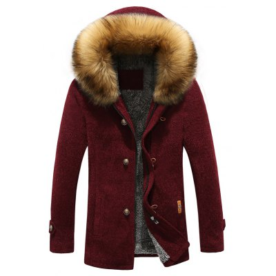 Patch Design Zip-Up Fur Hooded Jacket