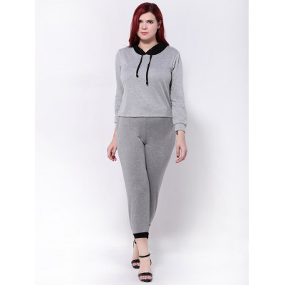 Color Splicing Hoodie and Jogger Pants