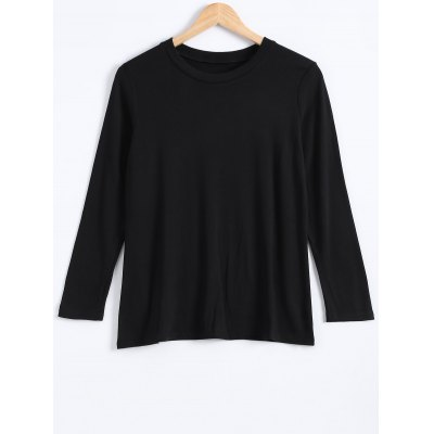 Plus Size Round Neck Long Sleeve Pullover T-Shirt