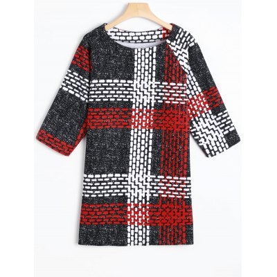 Dashed Line Shift Plaid Print T-Shirt