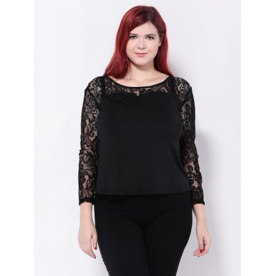 Lace Splicing See-Through Blouse