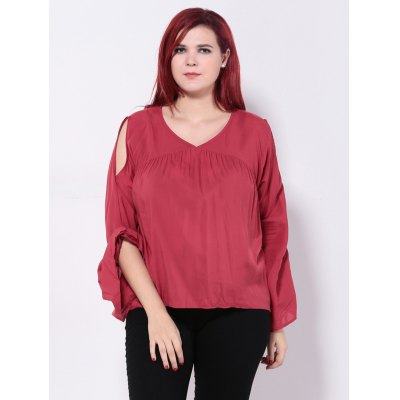Bell Sleeves Back Hollow Out Blouse
