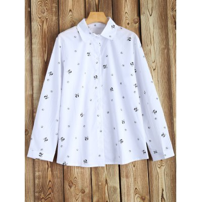 Plus Size Long Sleeve Printed Shirt