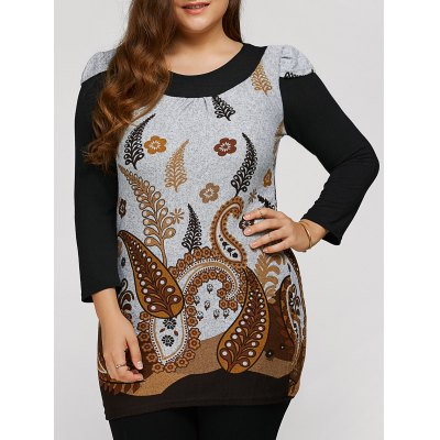 Plus Size Tunic Dress With Paisley Print