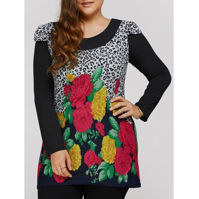 Plus Size Dress With Flower Leopard Print