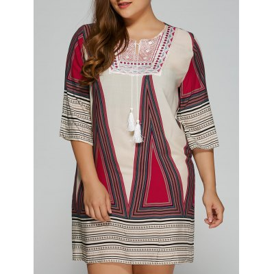Plus Size Embroidered Geometric Print Dress