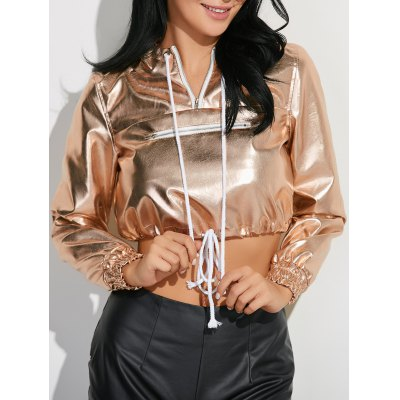 Metallic Color Pullover Hoodie